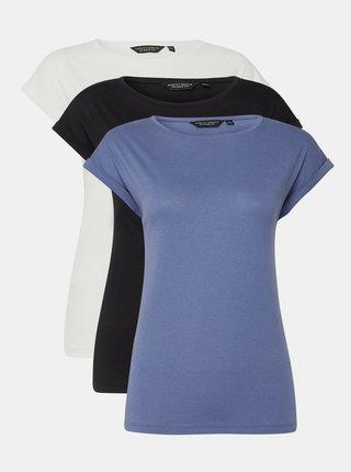 Sada tří basic triček v modré, černé a bílé barvě Dorothy Perkins