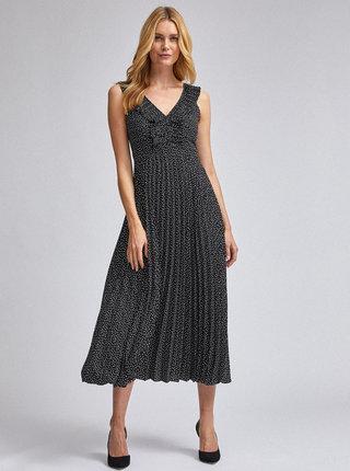 Černé puntíkované maxišaty s plisovanou sukní Dorothy Perkins