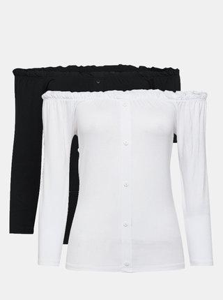 Sada dvou triček s odhalenými rameny v bílé a černé barvě Dorothy Perkins