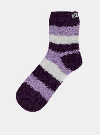 Fialové dámske pruhované ponožky Bellinda Soft