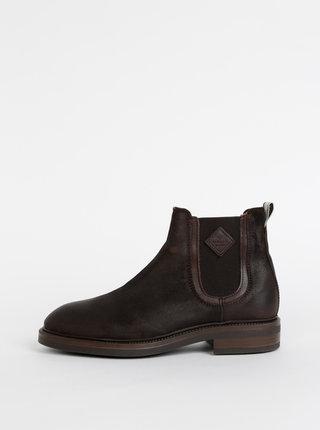Tmavě hnědé pánské kožené chelsea boty s vlněnou podšívkou GANT Martin