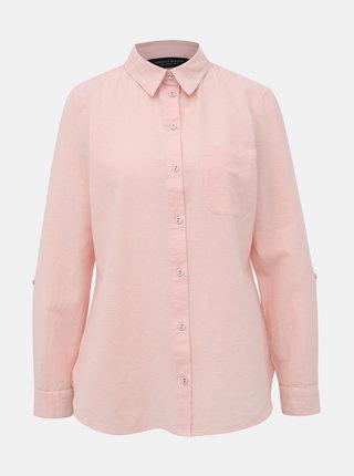Růžová košile s příměsí lnu Dorothy Perkins