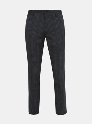 Tmavě šedé kostkované slim fit kalhoty Selected Homme Storm