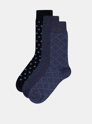 Sada tří párů modrých ponožek Selected Homme Hunter