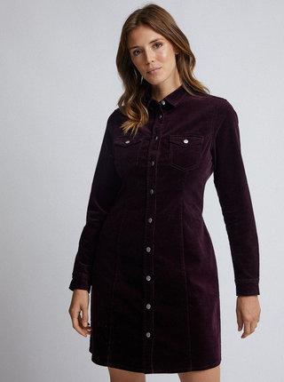 Vínové manšestrové košilové šaty Dorothy Perkins