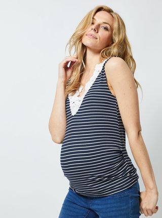 Tmavomodrý tehotenský pruhovaný top s madeirou Dorothy Perkins Maternity