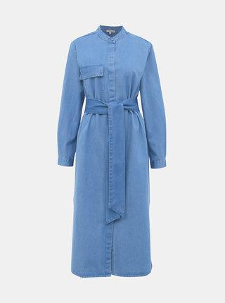 Modré rifľové midišaty Selected Femme Nora
