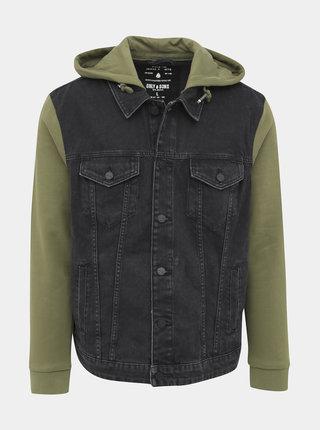 Zeleno-čierna rifľová bunda ONLY & SONS Coin
