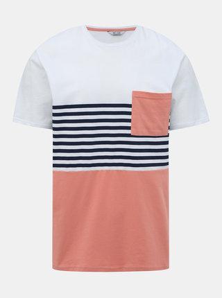 Růžovo-bílé tričko ONLY & SONS Del