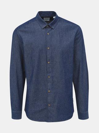 Tmavomodrá rifľová slim fit košeľa ONLY & SONS Sask