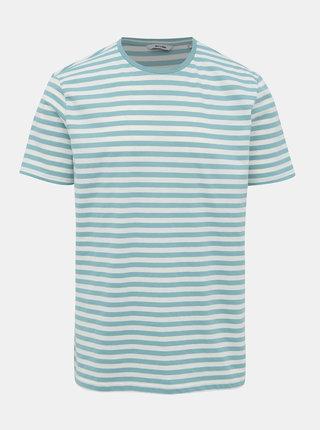 Bílo-zelené pruhované basic tričko ONLY & SONS Jamie