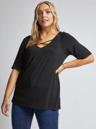 Čierne tričko s priestrihmi Dorothy Perkins Curve