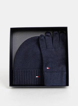 Sada tmavomodrej čiapky a rukavíc Tommy Hilfiger