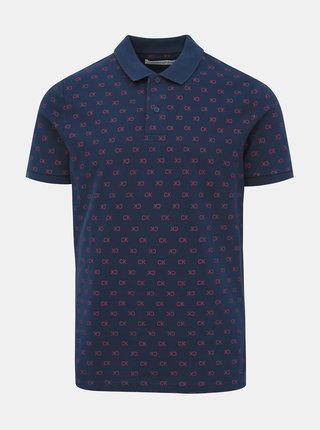 Tmavě modré pánské polo tričko s potiskem Calvin Klein Jeans