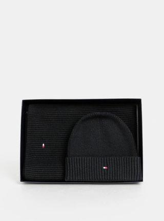 Sada čiernej čiapky a šálu Tommy Hilfiger