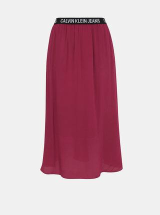 Vínová midi sukně Calvin Klein Jeans