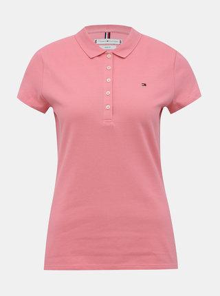 Rúžová dámska basic polokošeľa Tommy Hilfiger