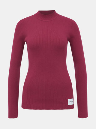 Vínový dámský svetr s příměsí vlny Calvin Klein Jeans Iconic