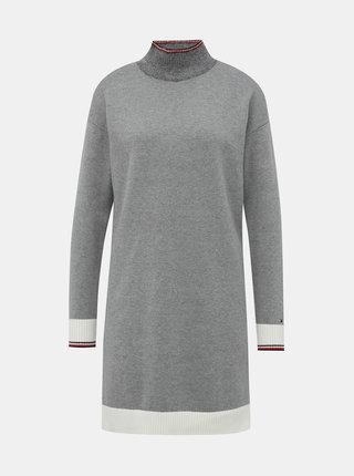 Šedé svetrové šaty s příměsí vlny Tommy Hilfiger