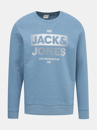 Světle modrá mikina s potiskem Jack & Jones Core Eddie