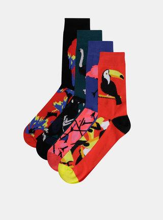 Sada štyroch párov vzorovaných ponožiek v červenej, modrej a zelenej farbe Jack & Jones Mix Animals