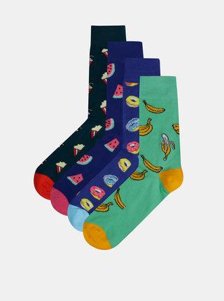 Sada štyroch párov vzorovaných ponožiek v modrej a zelenej farbe Jack & Jones Happy