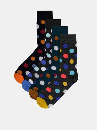 Sada čtyř párů puntíkovaných ponožek v zelené a šedé barvě Jack & Jones Dots