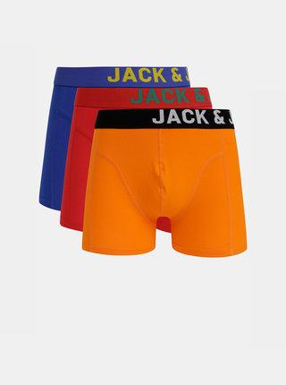 Sada troch boxeriek v modrej, oranžovej a červenej farbe Jack & Jones Side