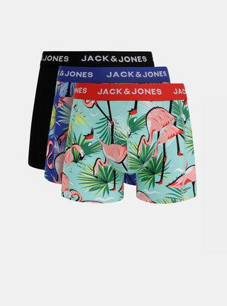 Sada troch vzorovaných boxeriek v modrej, zelenej a čiernej farbe Jack & Jones Skull