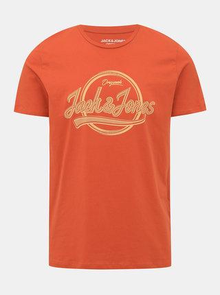 Oranžové tričko s potlačou Jack & Jones Brad