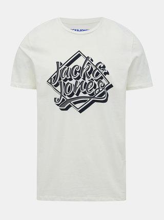Biele tričko s potlačou Jack & Jones Brad