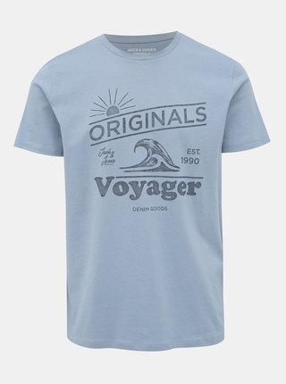 Svetlomodré tričko s potlačou Jack & Jones Dover