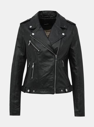 Čierna kožená bunda VERO MODA Lara