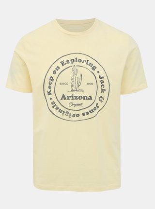 Svetložlté tričko s potlačou Jack & Jones Dover