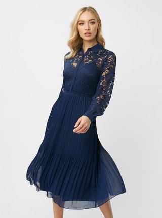 Tmavě modré midišaty s krajkou Little Mistress