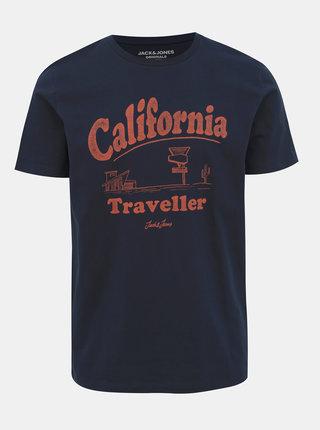Tmavomodré tričko s potlačou Jack & Jones Dover