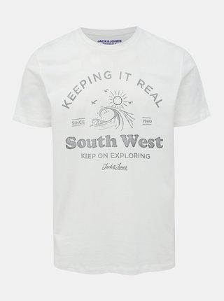 Bílé tričko s potiskem Jack & Jones Dover