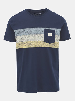 Tmavomodré tričko s potlačou Jack & Jones Langley