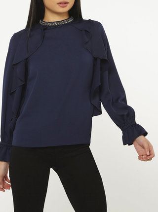 Bluza albastru inchis cu volane si margele Dorothy Perkins Petite