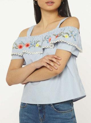 Bielo-modrá blúzka s odhalenými ramenami Dorothy Perkins Petite