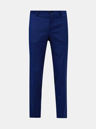 Modré oblekové slim fit nohavice s prímesou vlny Jack & Jones Solaris