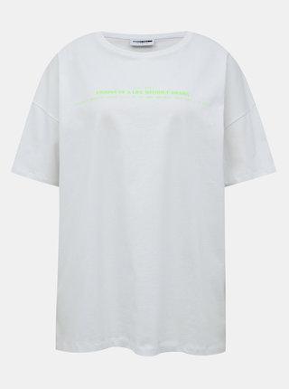 Bílé oversize tričko s potiskem Noisy May Ida
