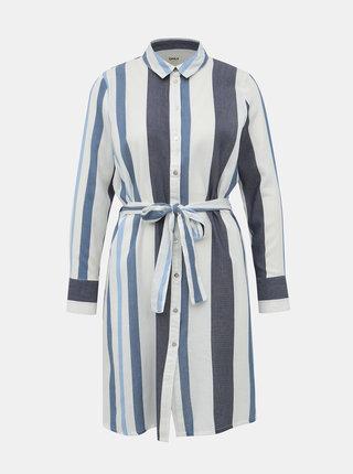 Bílo-modré košilové pruhované šaty ONLY Anya