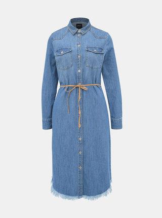 Modré rifľové košeľové midišaty ONLY Tianna