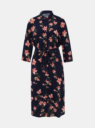 Tmavomodré kvetované košeľové šaty ONLY Nova