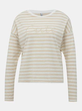 Béžové pruhované tričko s výšivkou ONLY Rosely