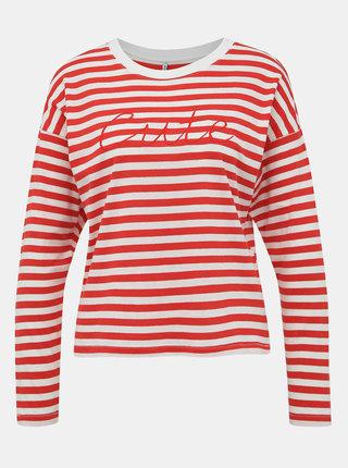 Bielo-červené pruhované tričko ONLY Rosely