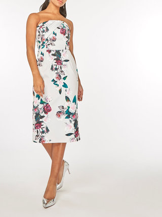 Rochie gri deschis teaca fara bretele cu model floral Dorothy Perkins