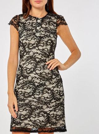 Bielo–čierne čipkované šaty s ozdobnými gombíkmi Dorothy Perkins