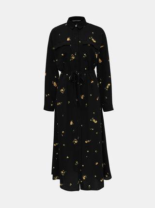 Černé květované košilové maxišaty ONLY Ladie